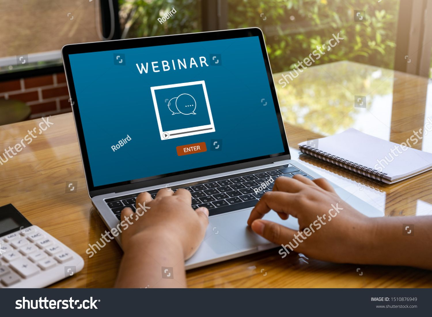 Laptop Computer With Webinar E Business Browsing Connection And Cloud Online Technology Webcast Concept Business Laptop Computers Photo Editing Wedding Vector