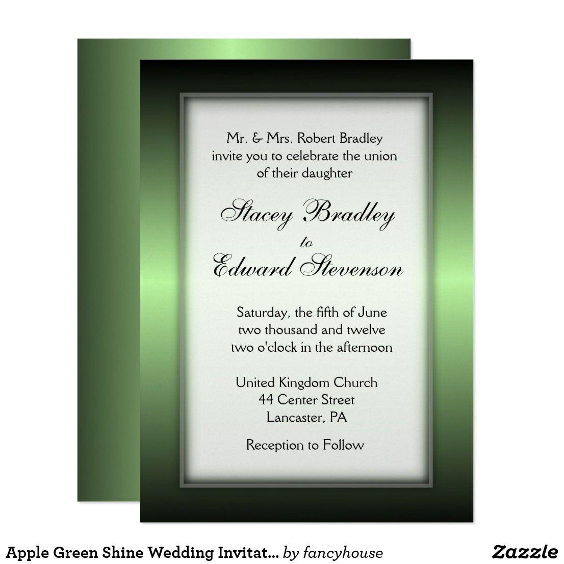 Apple green shine wedding invitation off green wedding