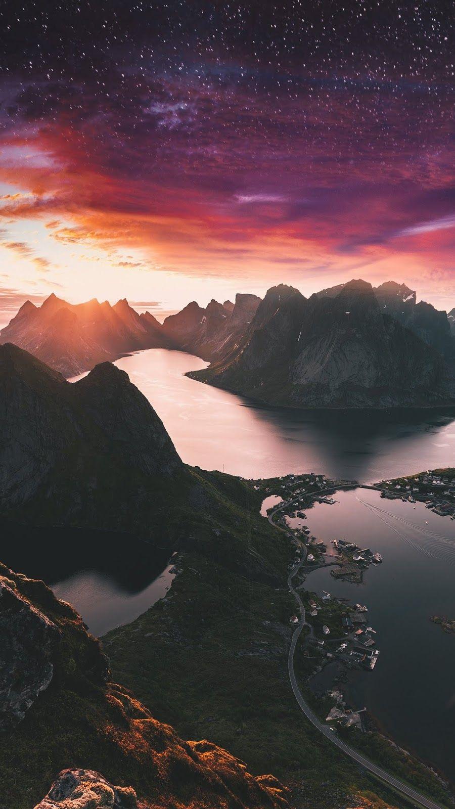 Starry Mountain Night Iphone Wallpaper Landscape Scenery Beautiful Nature
