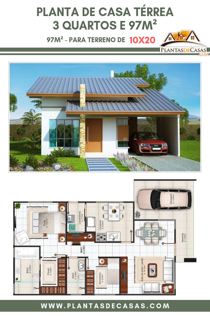 Photo of Planta de casa terrea 3 quartos e 97m²