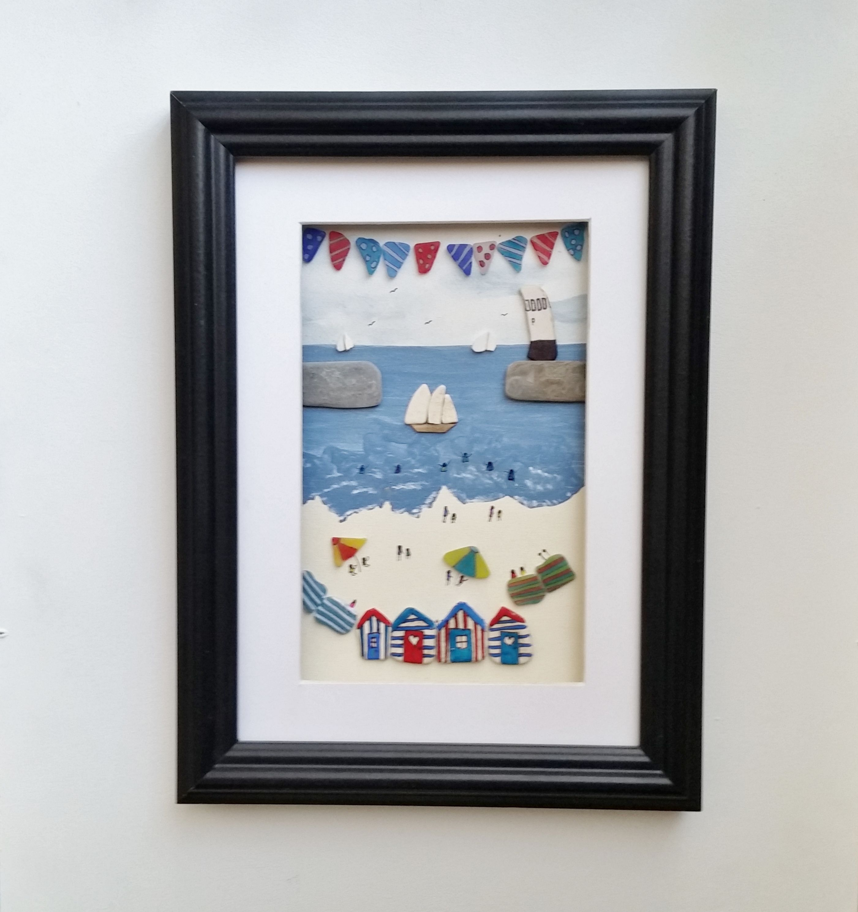 Beach Huts And Bunting Quirky Gifts Sea Pottery Beach Huts And