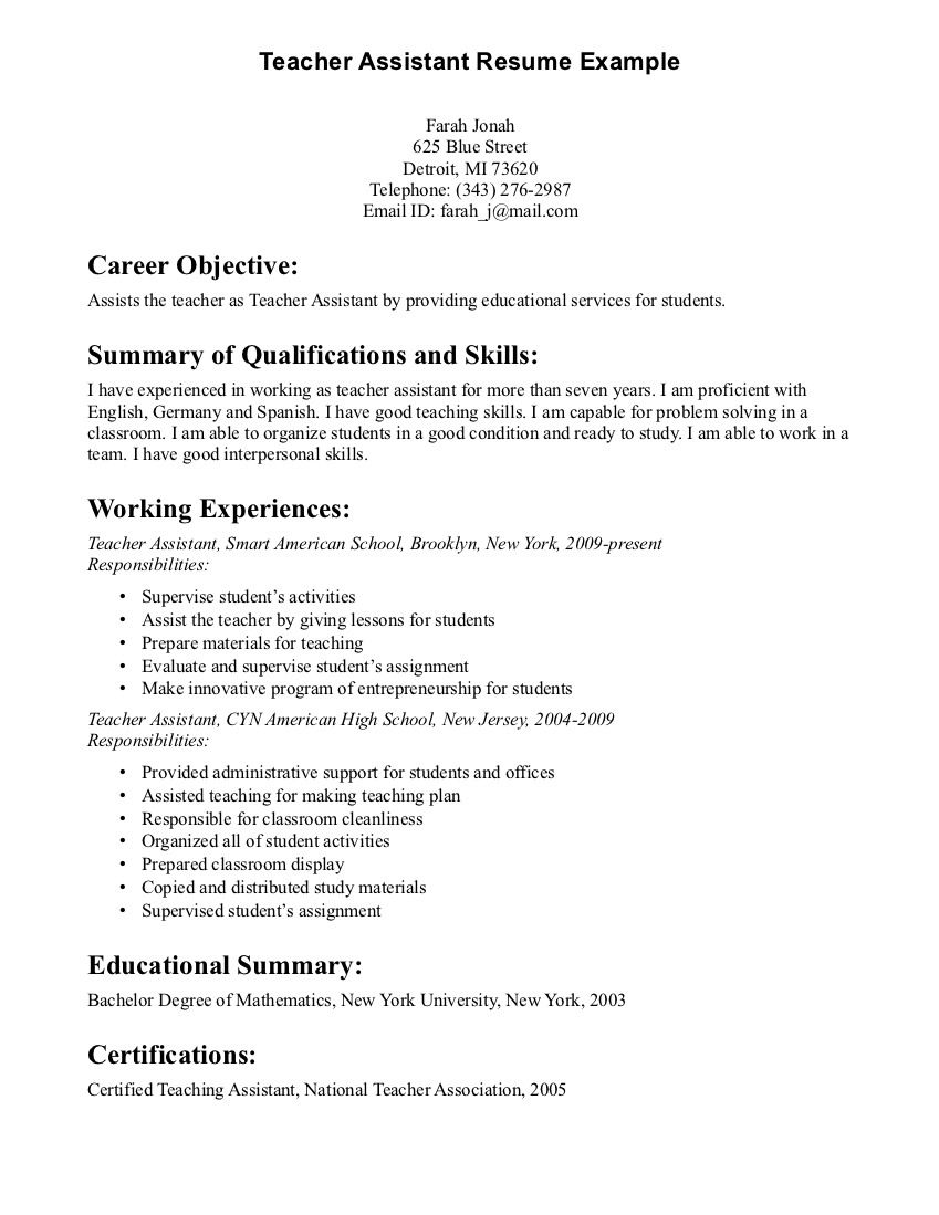 Sample Teen Resume Teacher Assistant Resume Objective  Teacher Assistant Resume
