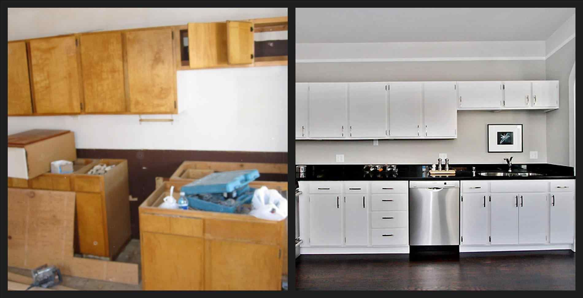 Of painted kitchen cabinets before and after kitchens refinish oak
