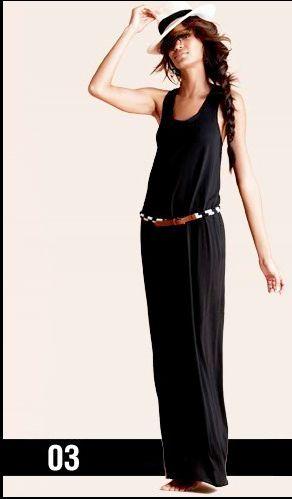 Long black dress, messy side braid.