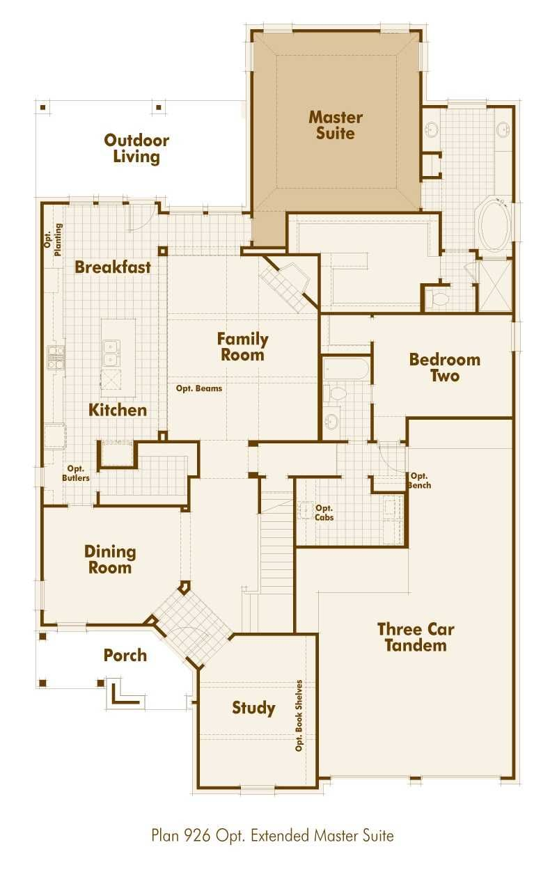 Highland Homes 926 Floor Plan Downstairs With Extended Master Suite
