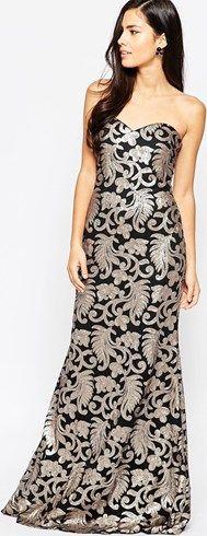 Vestido largo palabra de honor Fontanne de Forever Unique, negro con detalle. #vestidos #moda