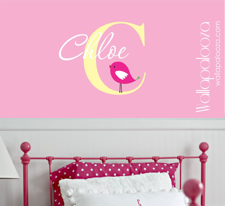 Girls room wall decal custom name by wallapaloozadecals also girl   nursery art rh pinterest