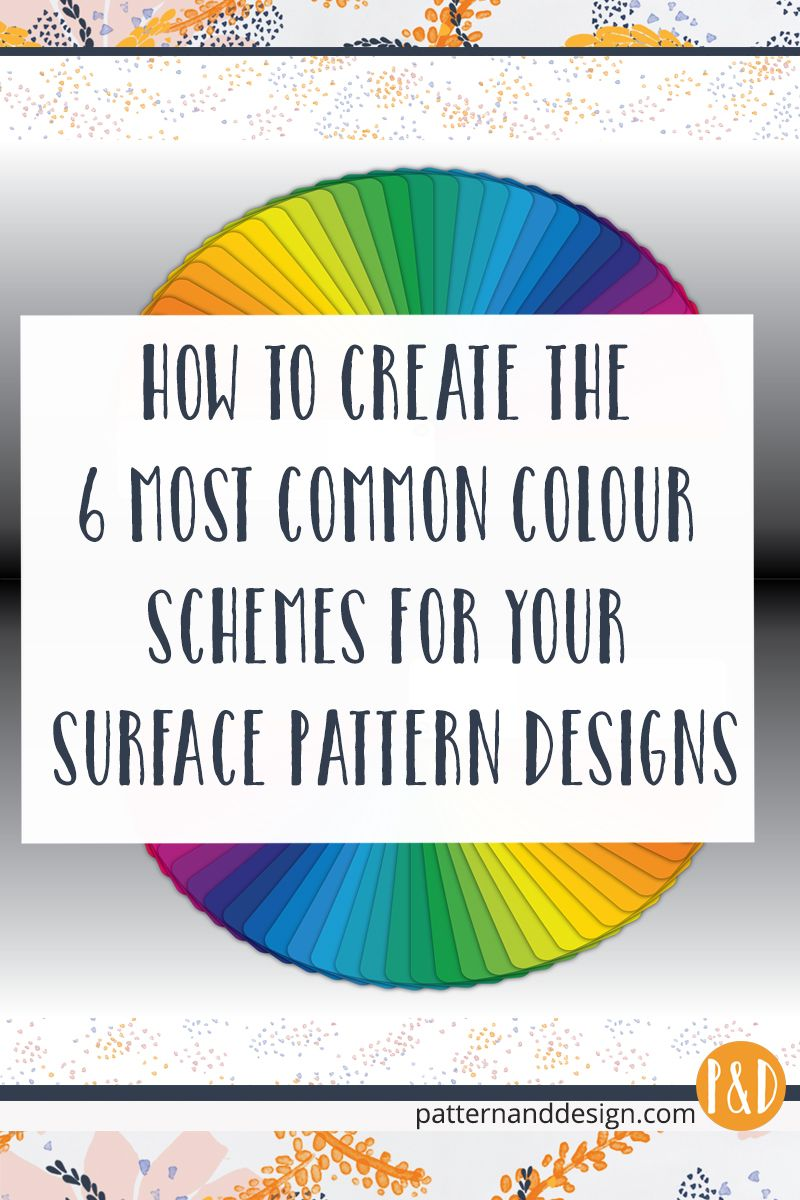 Learn how to create the 6 most common colour schemes using the colour wheel tool for your surface pattern designs + FREE Colour Cheat Sheet #surfacepatterndesign