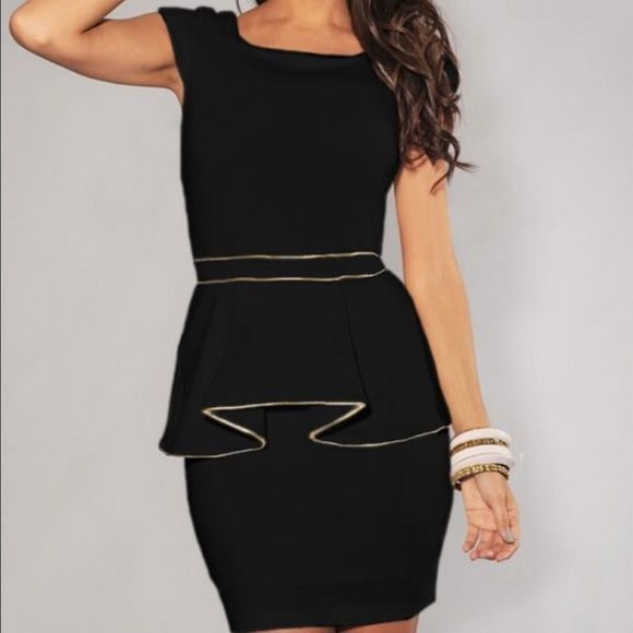 First Impressions Are Everything Whether going to the office, meeting clients, attending a social event, this LBD has your back.  You will leave a lasting impression coming and going.  Classic features combined with cotton blend material, white trim along peplum skirt and waist, ending above your knee will make you one classy lady with an edge.  You need to preorder quickly, because my cost will be going up soon and I will not be able to offer at this price again.  L:  bust34, waist28.5…