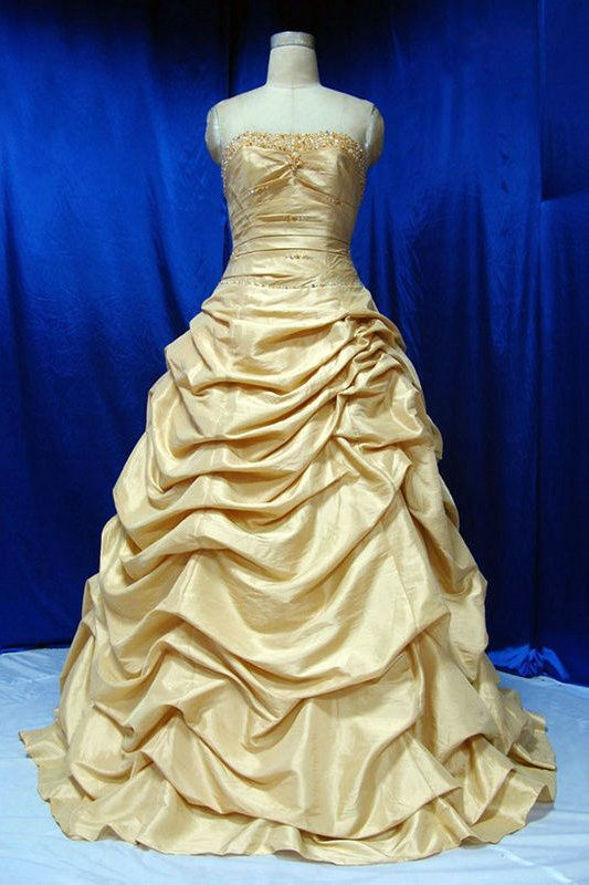 Beading Strapless Taffeta A Line Vintage Princess Gold Wedding Gowns ...