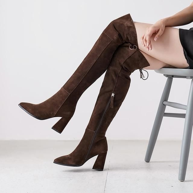 Thigh High Ladies Leather Boots - Sale
