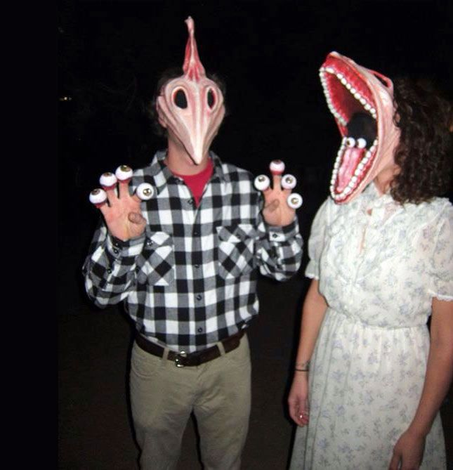 Beetlejuice Couple Eyeballs And Serious DIY Maskmaking Skills - 90s couples halloween costume ideas