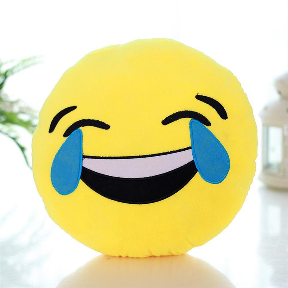 Round Plush Fluffy Doll Toy Cute Stuffed Emoticon Smiley Emoji Cushion Pillow