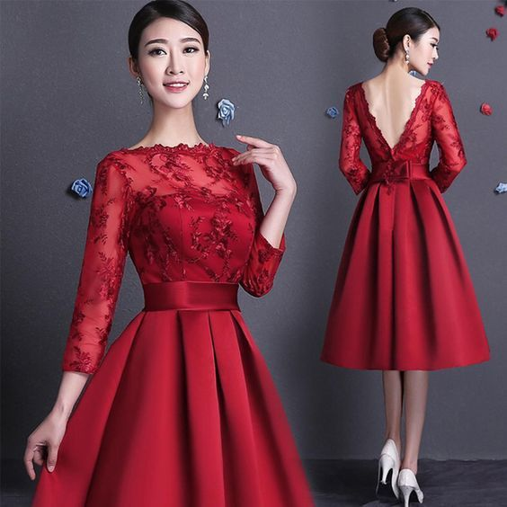 Vestidos de damas de honor rojos largos