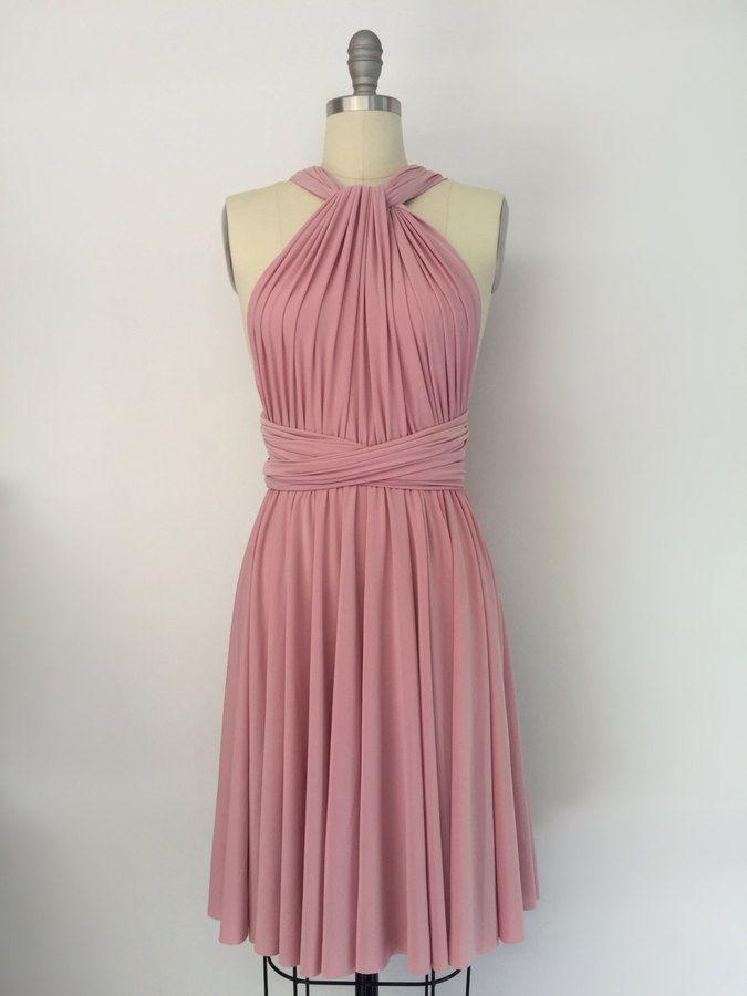 Pink Bridesmaid Dress Short Infinity Dress Convertible