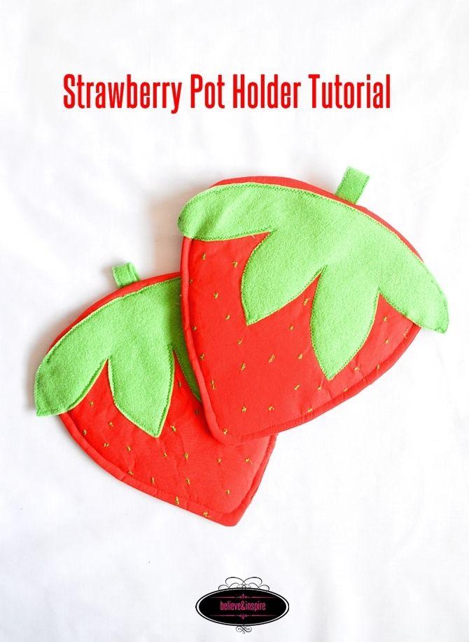 Strawberry DIY Pot Holder | Pinterest | Potholders, Sewing projects ...