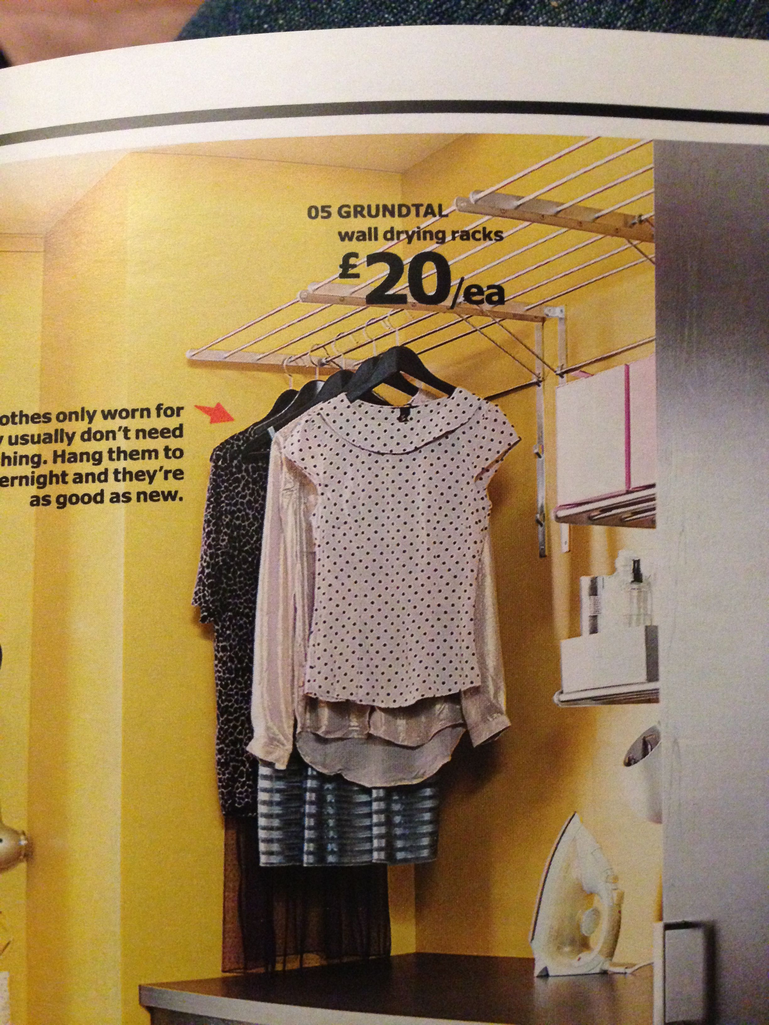 Ikea Grundtal Wall Mounted Folding Clothes Airer Laundry Drying