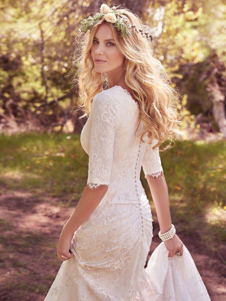 c0cd495eca24 Modest Wedding Dress from Fantasy Bridal. Modest, fitted, jersey lining,  elbow sleeve, lace, maggie sottero #utahwedding #utahbride  #modestweddingdress ...