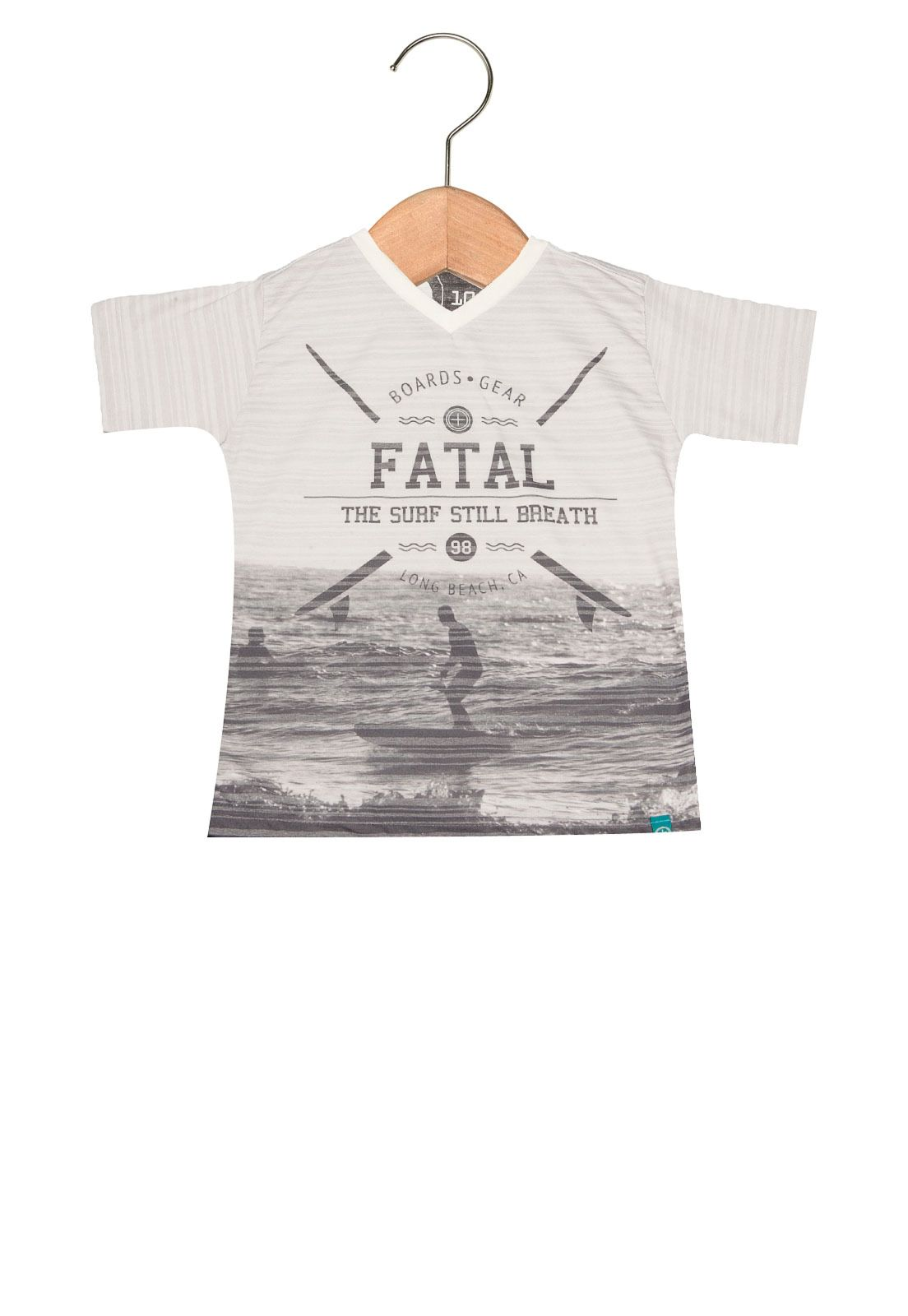 Camiseta Manga Curta Fatal Surf Infantil Cinza a0b3ce2b9290f
