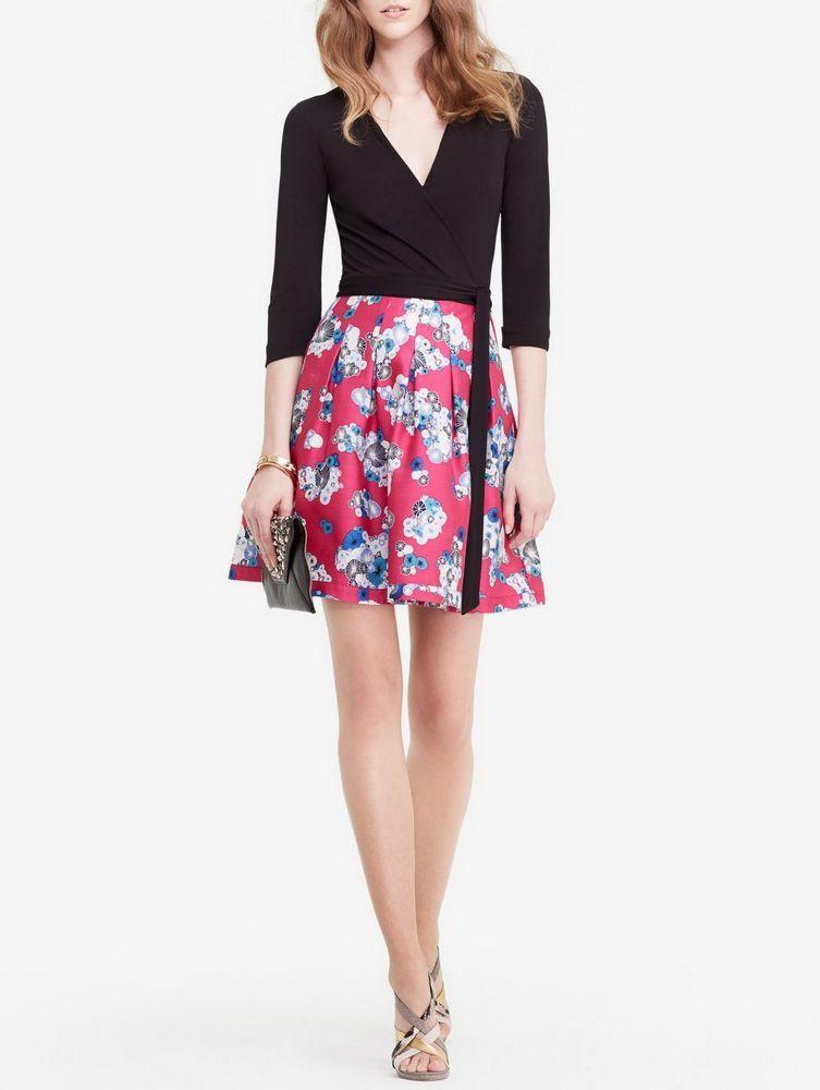 5ebe0a64516 NWT DIANE VON FURSTENBERG DVF ~Jewel Wrap Dress~ black flowers pink~sz  14~ 548  DVF  WrapDress  Casual
