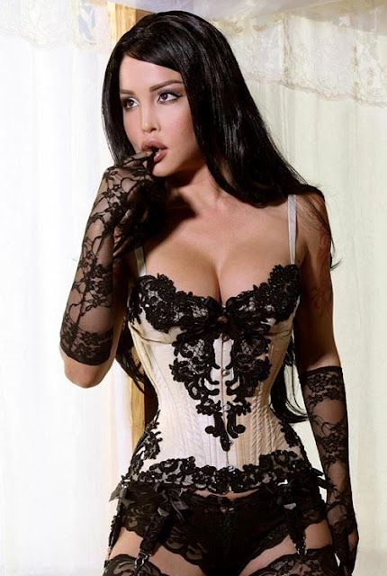 Laced in corset for sex