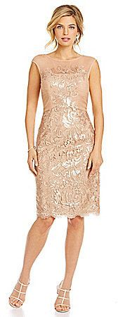 JS Collections Metallic Floral-Lace Cocktail Dress
