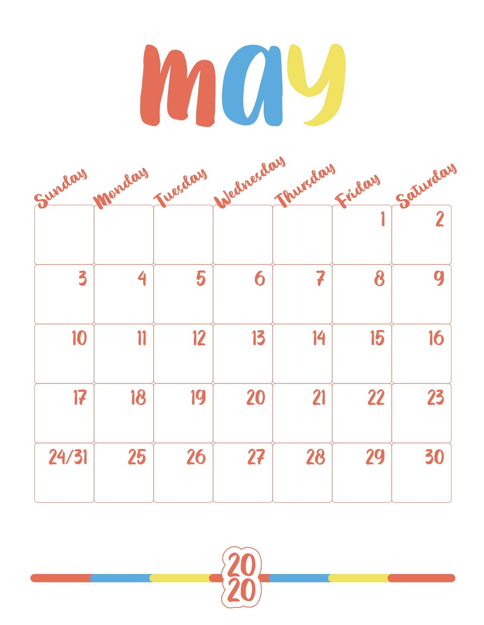 Cute May 2020 Calendar Printable Floral Wall Design In 2020