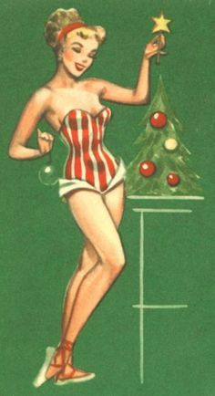 Just decorating the tree in my vintage one piece | Winter ...
