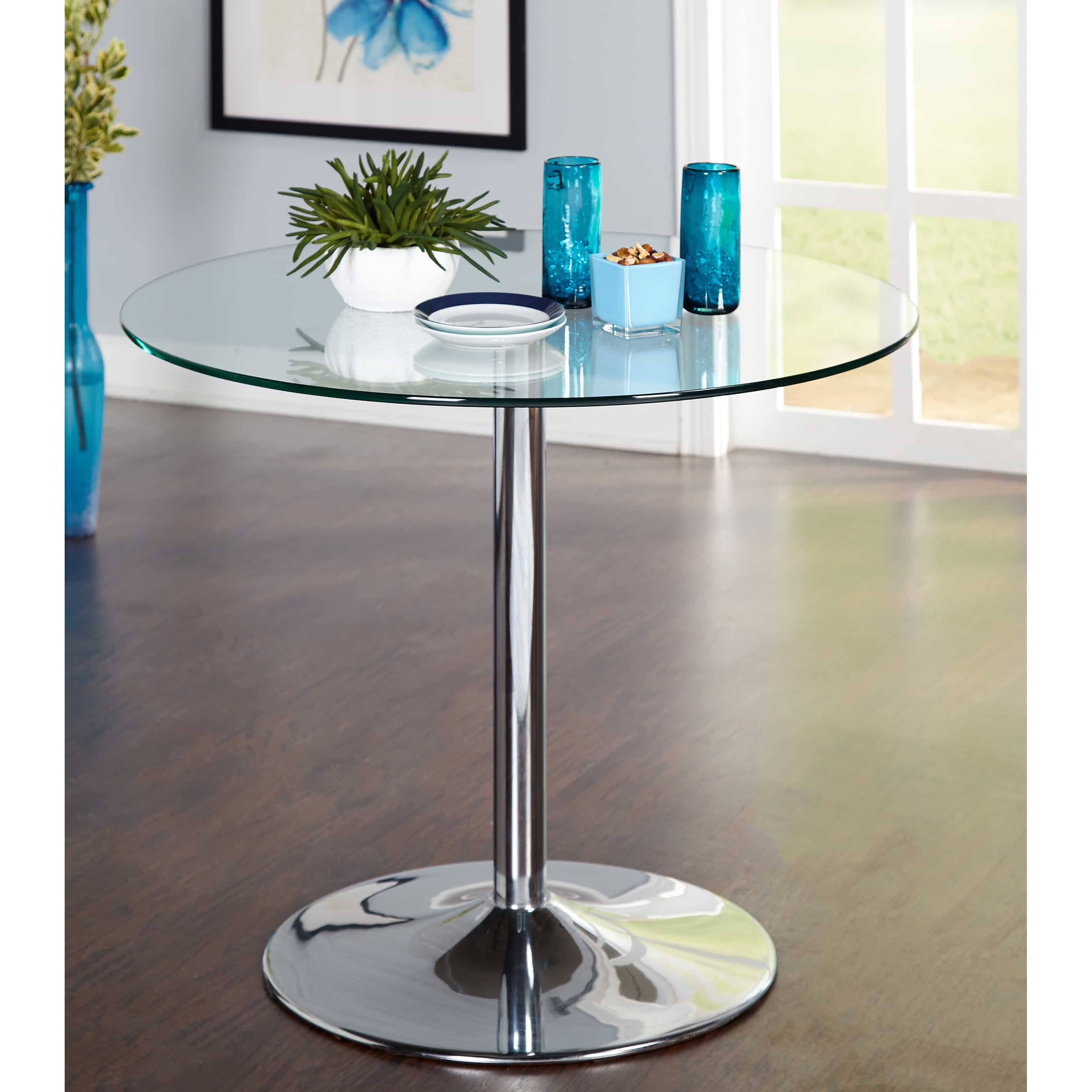 Carson Carrington Klemens Round Dining Table Glass Dining Table