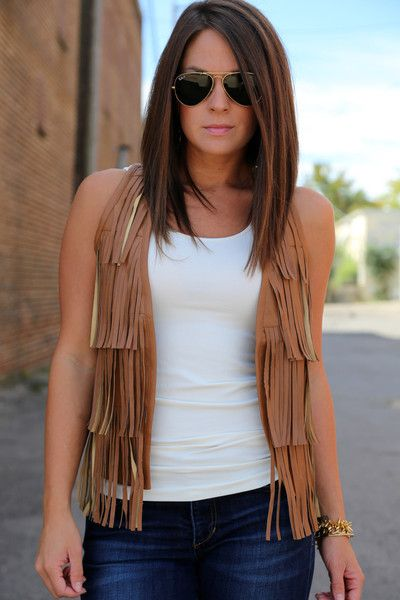 Fringy Leather Vest | The Rage - GonPin