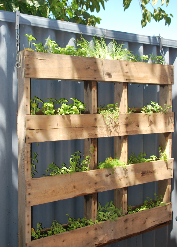 Hanging Pallet Garden Living the Savory
