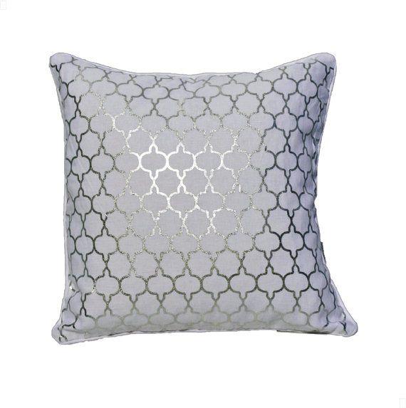 10++ White and silver throw pillows info