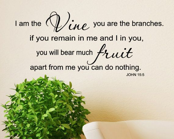 I Am The Vine You Are Branches JOHN 155 Scripture Vinyl Decal Lettering Wall Words God Quotes Fruit