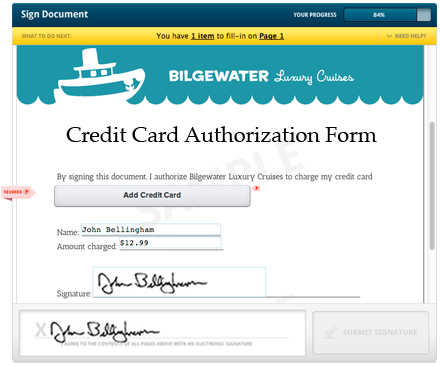 Credit Card Authorization Form Template: Approving Charges using ...
