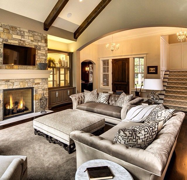 Living Room With Wood Beam Arches  Family & Living Rooms Interesting Light Colored Living Rooms Inspiration Design