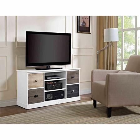 """Altra Mercer Storage TV Console with Multicolored Door Fronts for TVs up to 48"""", White"""