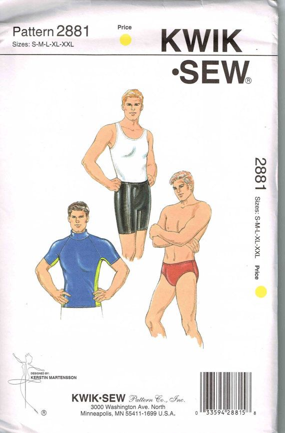 Kwik Sew 2881 Mens Bicycle Shorts, Tank Top Shirt, Trunks Exercise ...