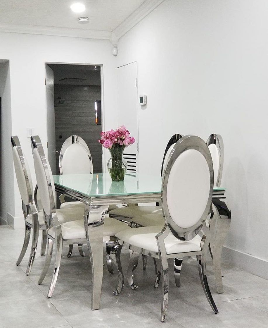chanel glass dining table on coco furniture gallery hialeah on instagram we are so happy our client loves their dining room get the chrome dining set dining table setting dining table coco furniture gallery hialeah on
