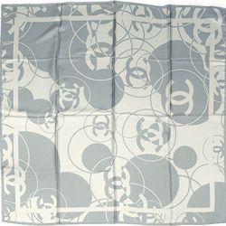 "Chanel Blue/Beige Silk Reversible Signature ""CC"" Scarf  - $199.99"
