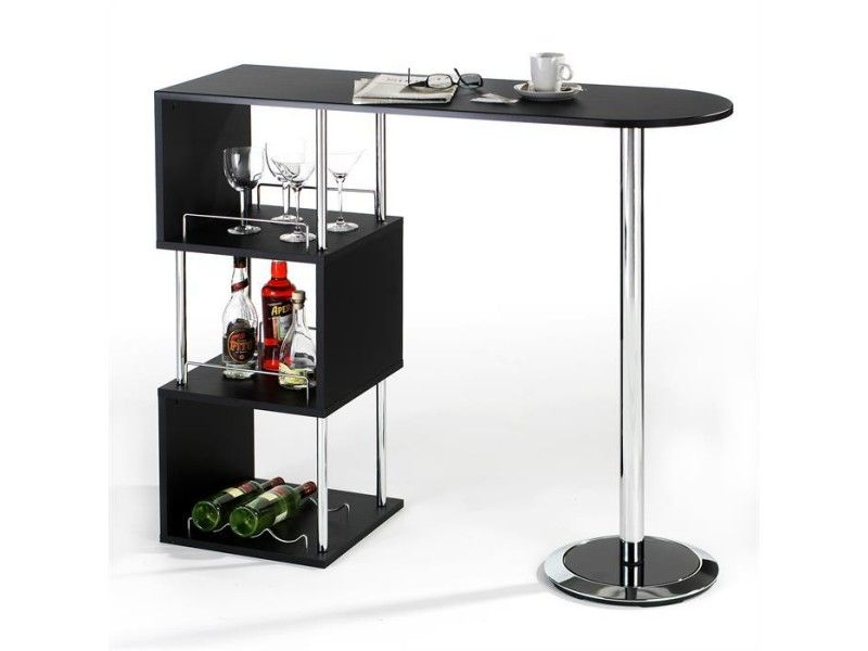 Table Haute De Bar Vigando 3 Tablettes Mdf Noir Vente De Table Conforama Bar Furniture Bars For Home Pub Table Sets