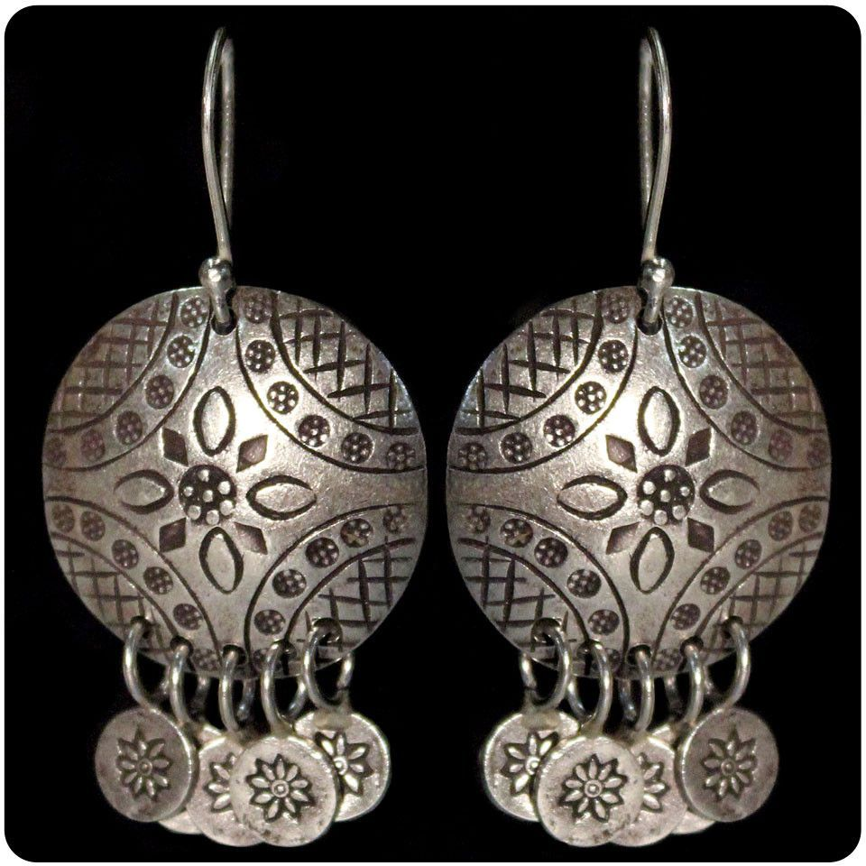 Tribal Earring - Stamped Disk
