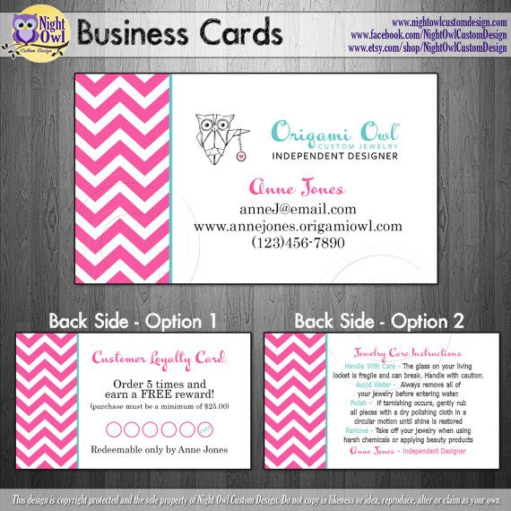 Origami owl o2 consultant or director business cards for Owl business cards