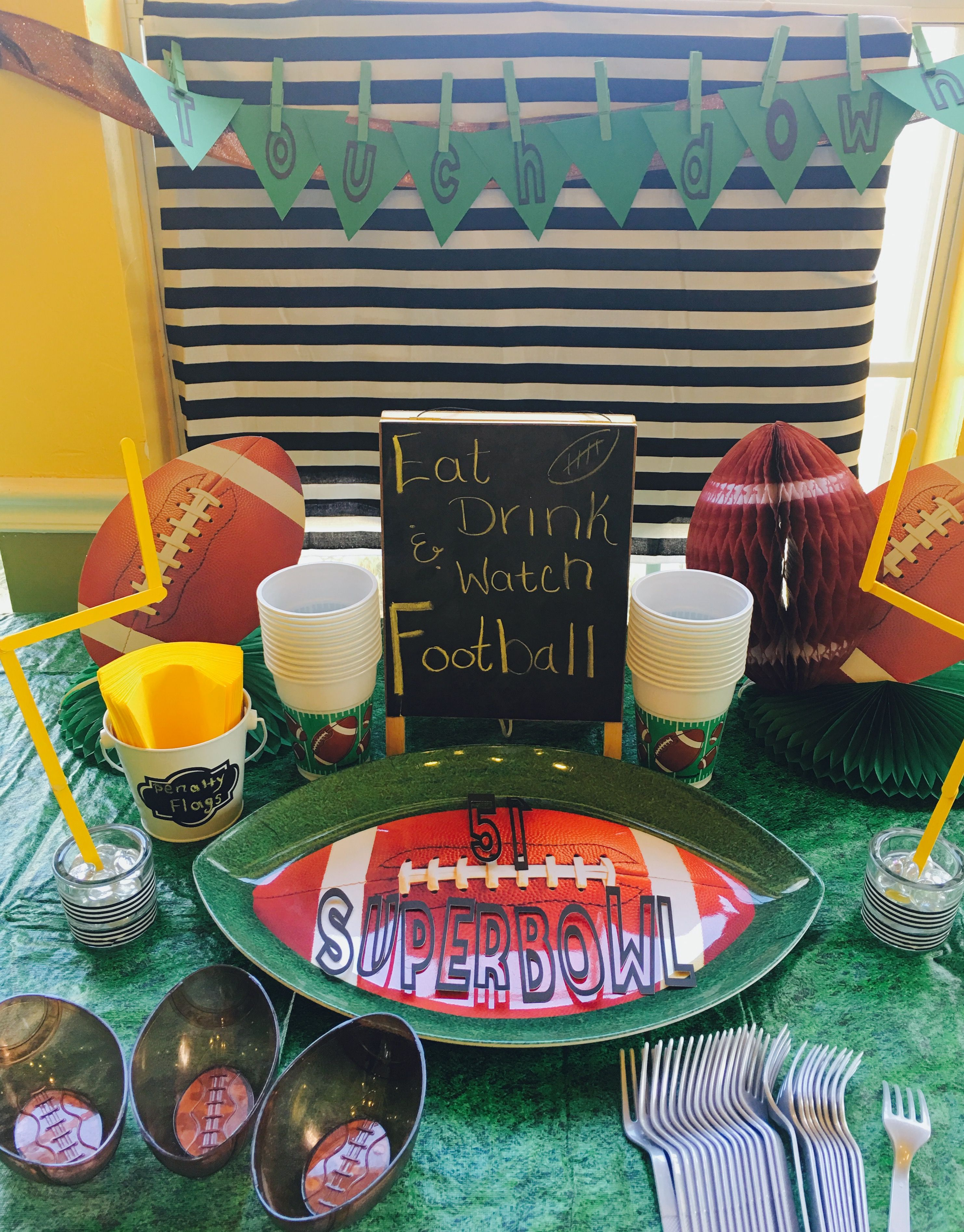 Super Bowl 51 party table set up! DIY projects by cheers to Confetti Tulsa, Ok