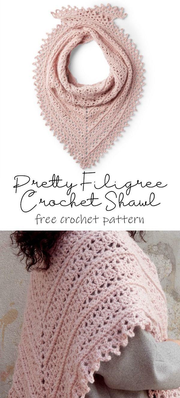 Patons Pretty Filigree Crochet Shawl Pattern   Yarnspirations