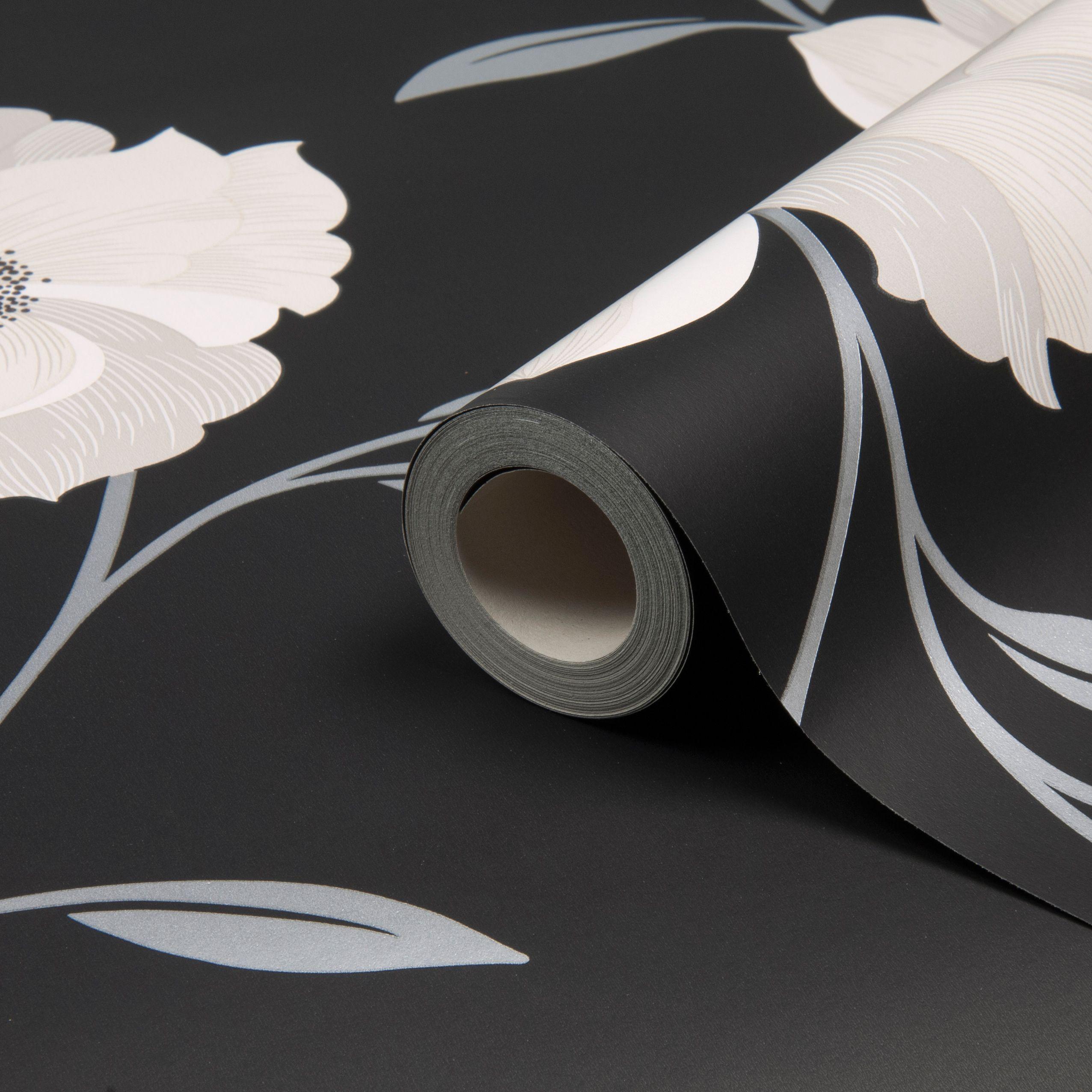 Home diy wallpaper illustration arthouse imagine fern plum motif vinyl - Arthouse Opera Charleston Black White Floral Wallpaper