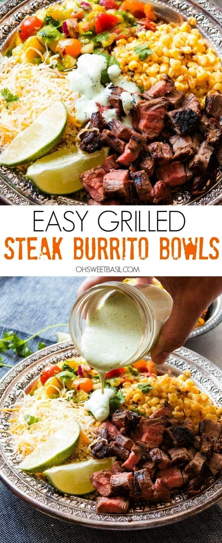 Grilled Steak Burrito Bowls - Oh Sweet Basil -  Easy Grilled Steak Burrito Bowls are great for easy
