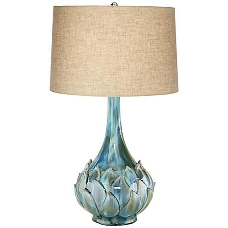 Possini Euro Kenya Blue Green Ceramic Table Lamp Art Glass Table