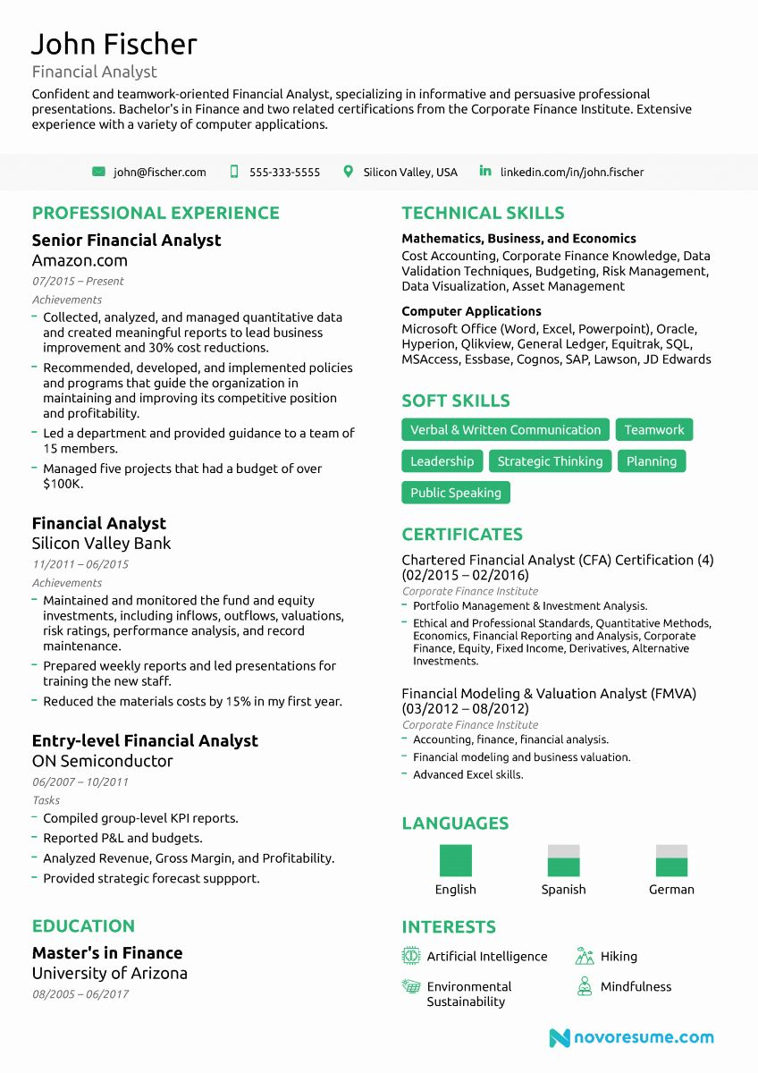 Entry level analyst resume new entry level financial