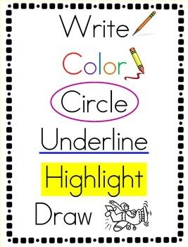 Here's a simple set of visual direction cards for use with primary and ESL students.