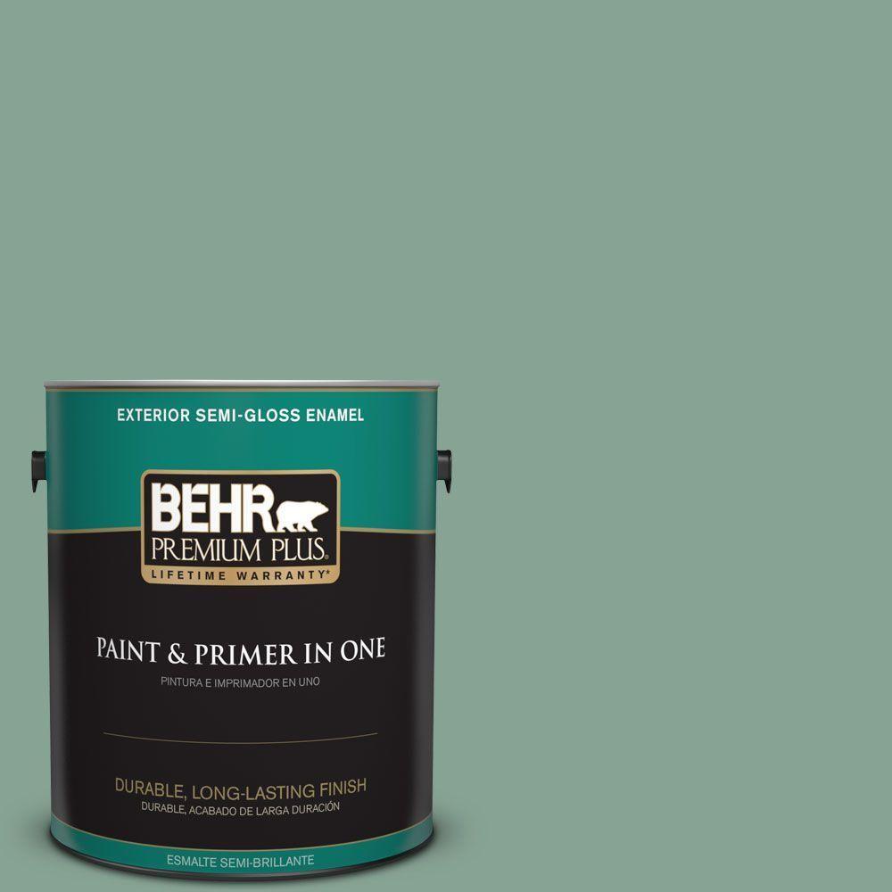 BEHR Premium Plus 1 gal. #T16-12 Modern Mint Semi-Gloss Enamel Exterior Paint